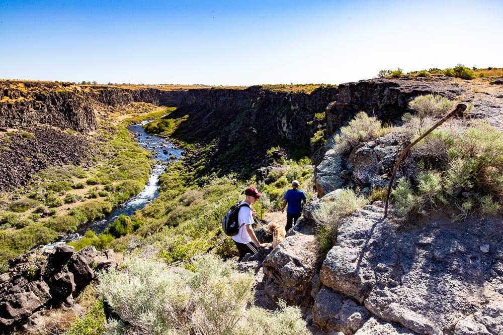 Family hiking on Box Canyon Springs trail near Wendell, idaho