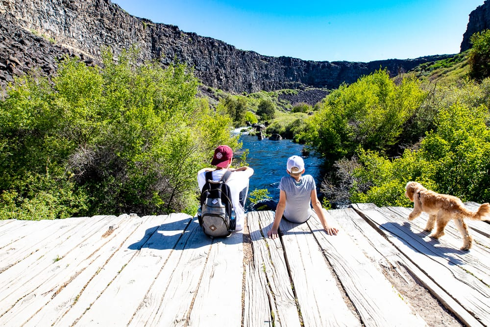 2 Teenage boys sitting on bridge in Box Canyon state park with a cavapoo