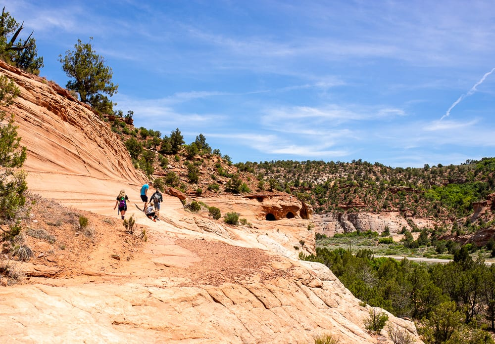 teenagers hiking in kanab utah