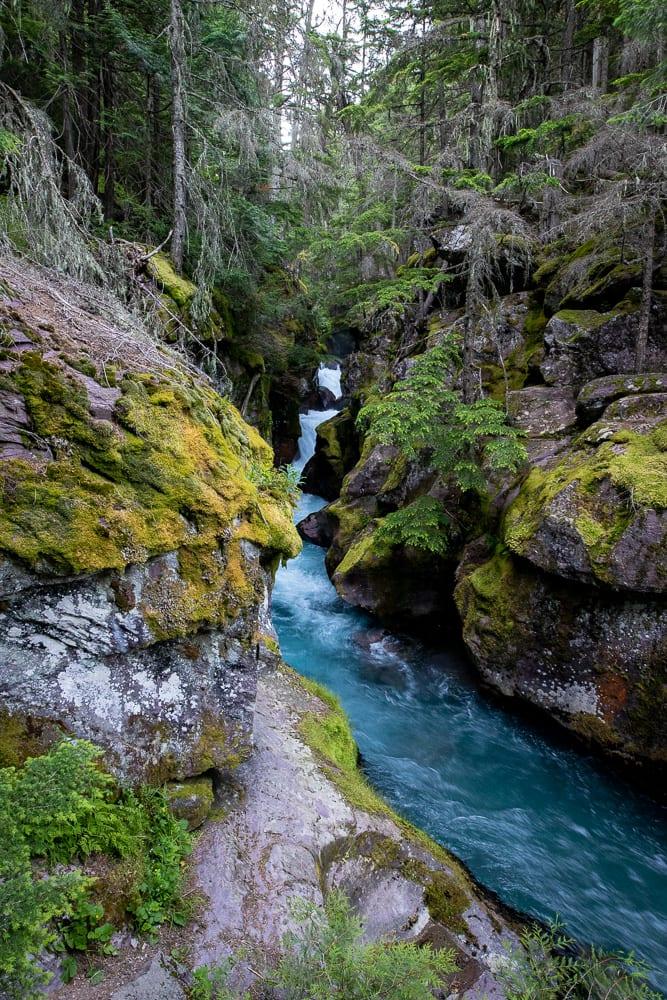 falls on avalanche lake trail