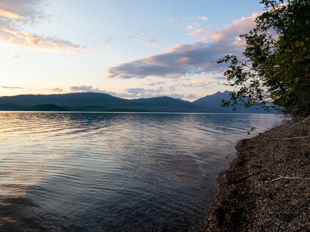 sunset at lake McDonald Montana