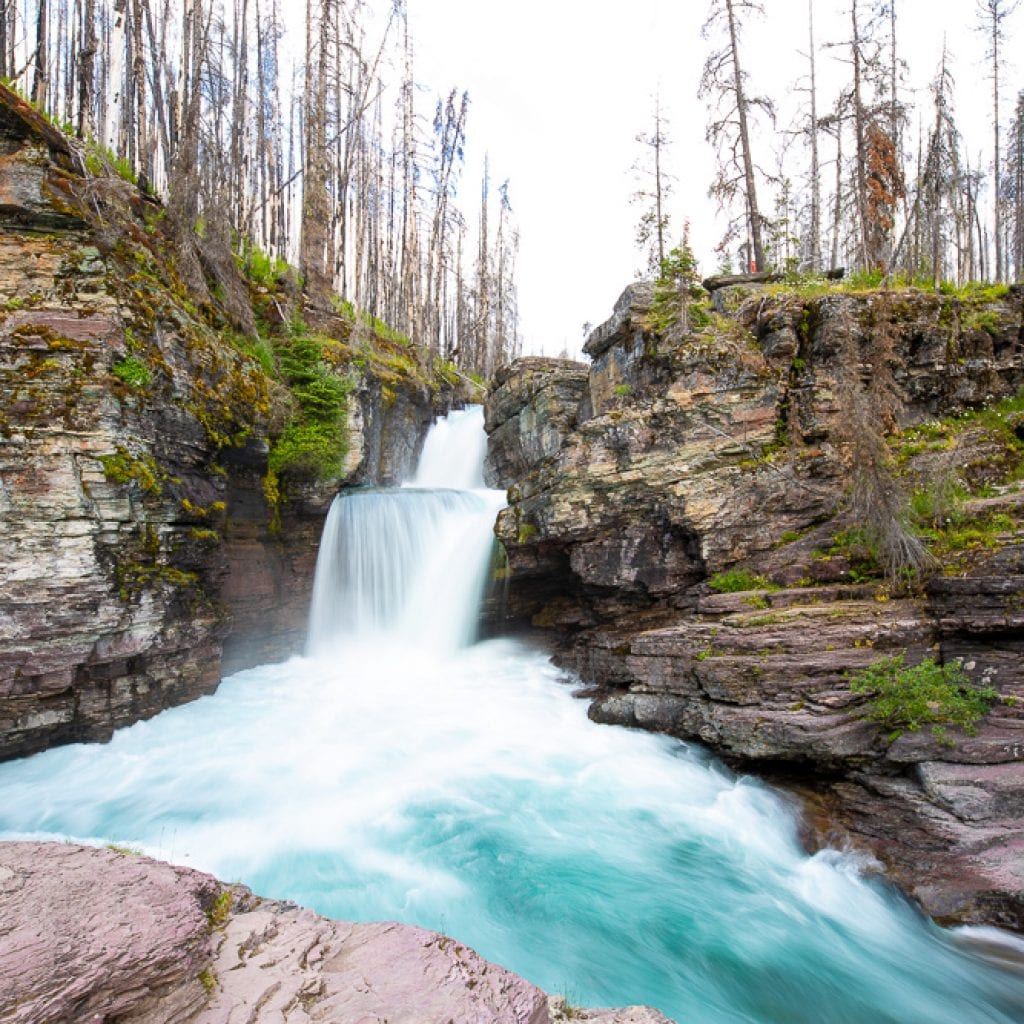 St Mary's Falls Glacier Mountain National Park Montana
