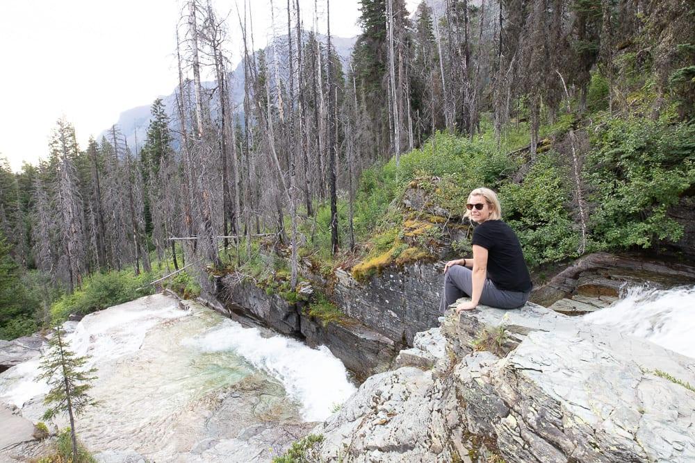 woman sitting on Bering Falls Montana