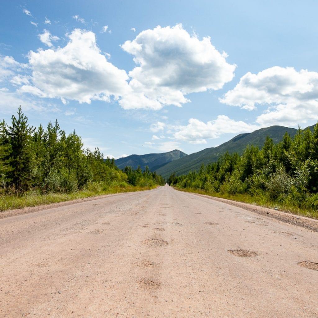 Road on North fork region of Glacier Mountain National Park