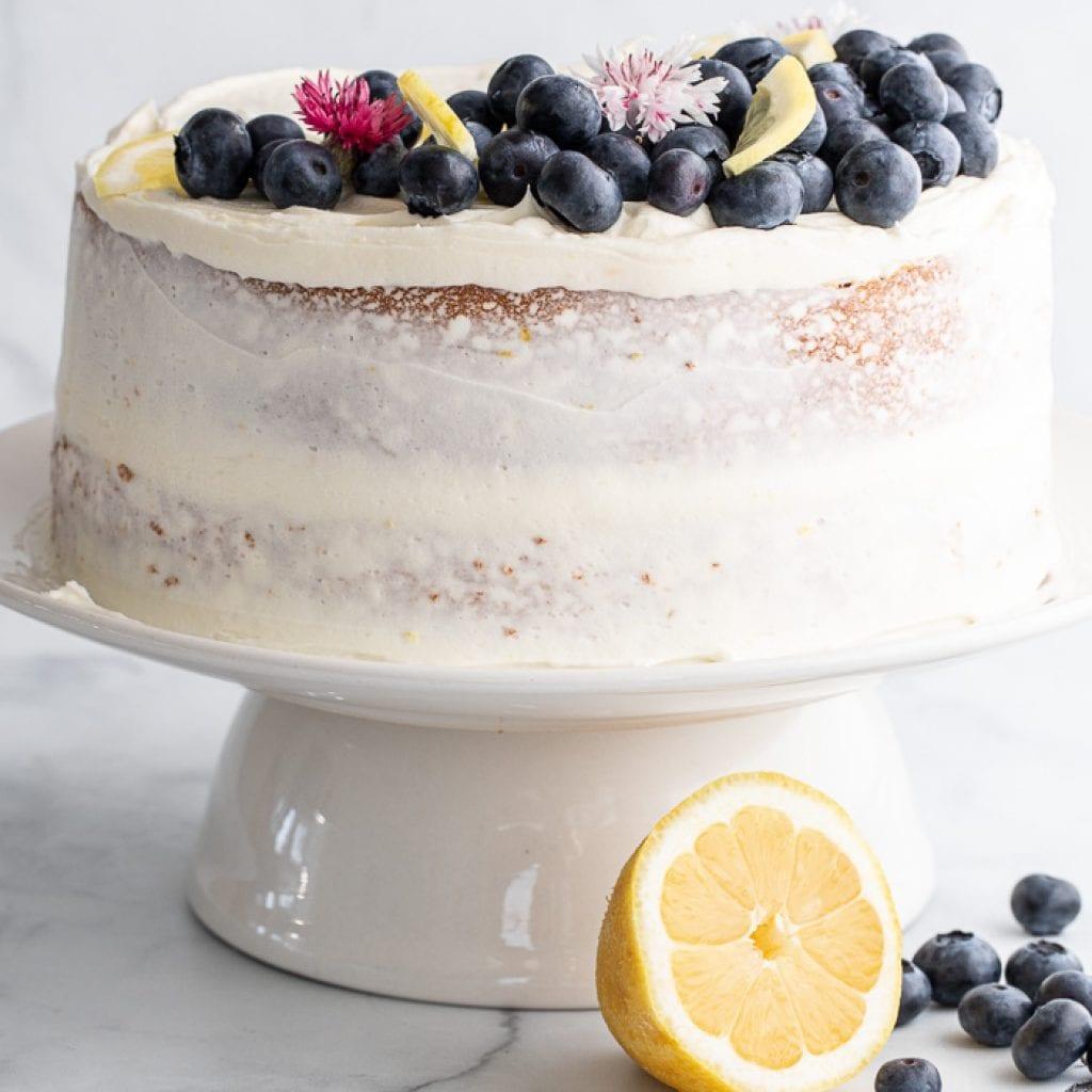 best lemon cornmeal cake with blueberries