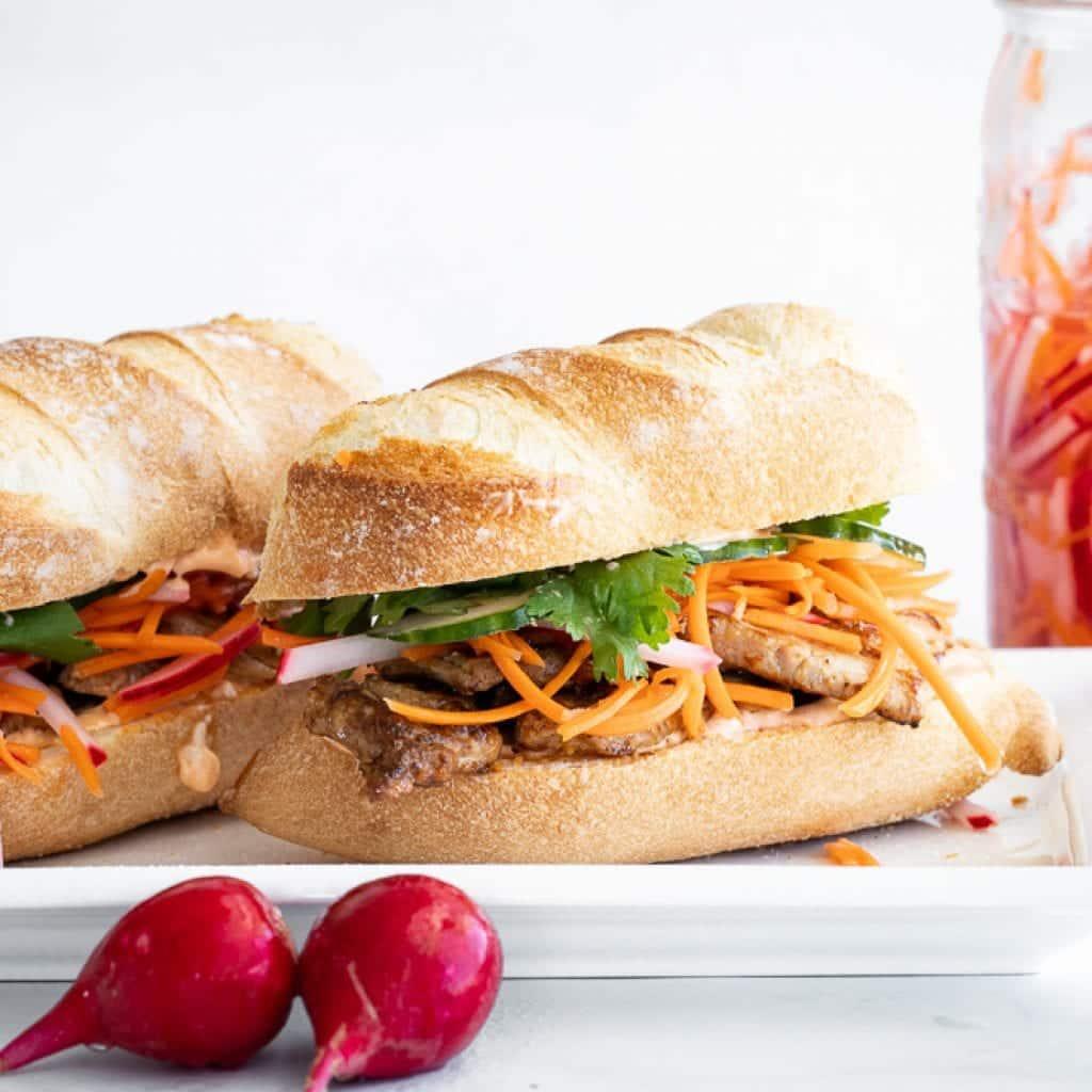 delicious banh mi pork tenderloin sandwiches