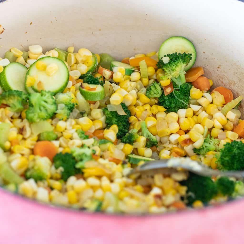 vegetables in enameled dutch oven