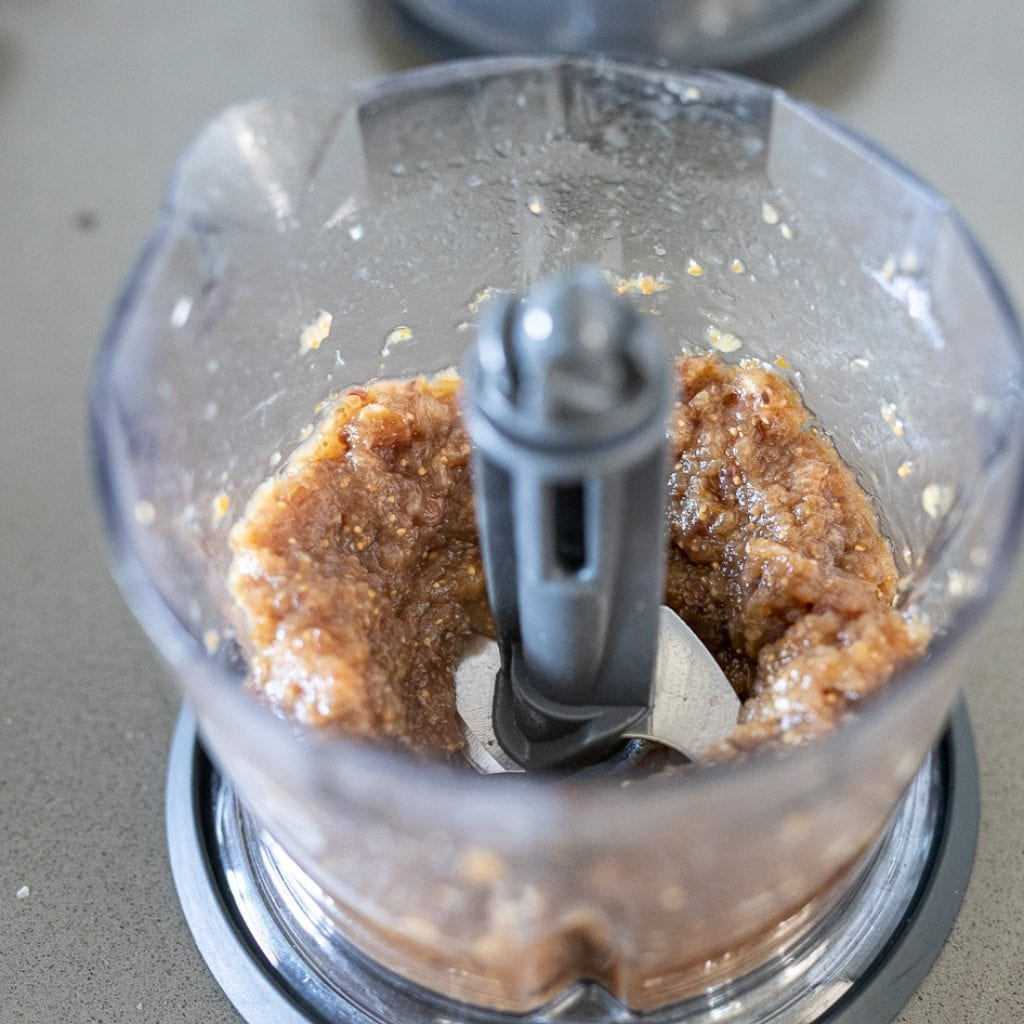 pureed fug sauce in small food processor