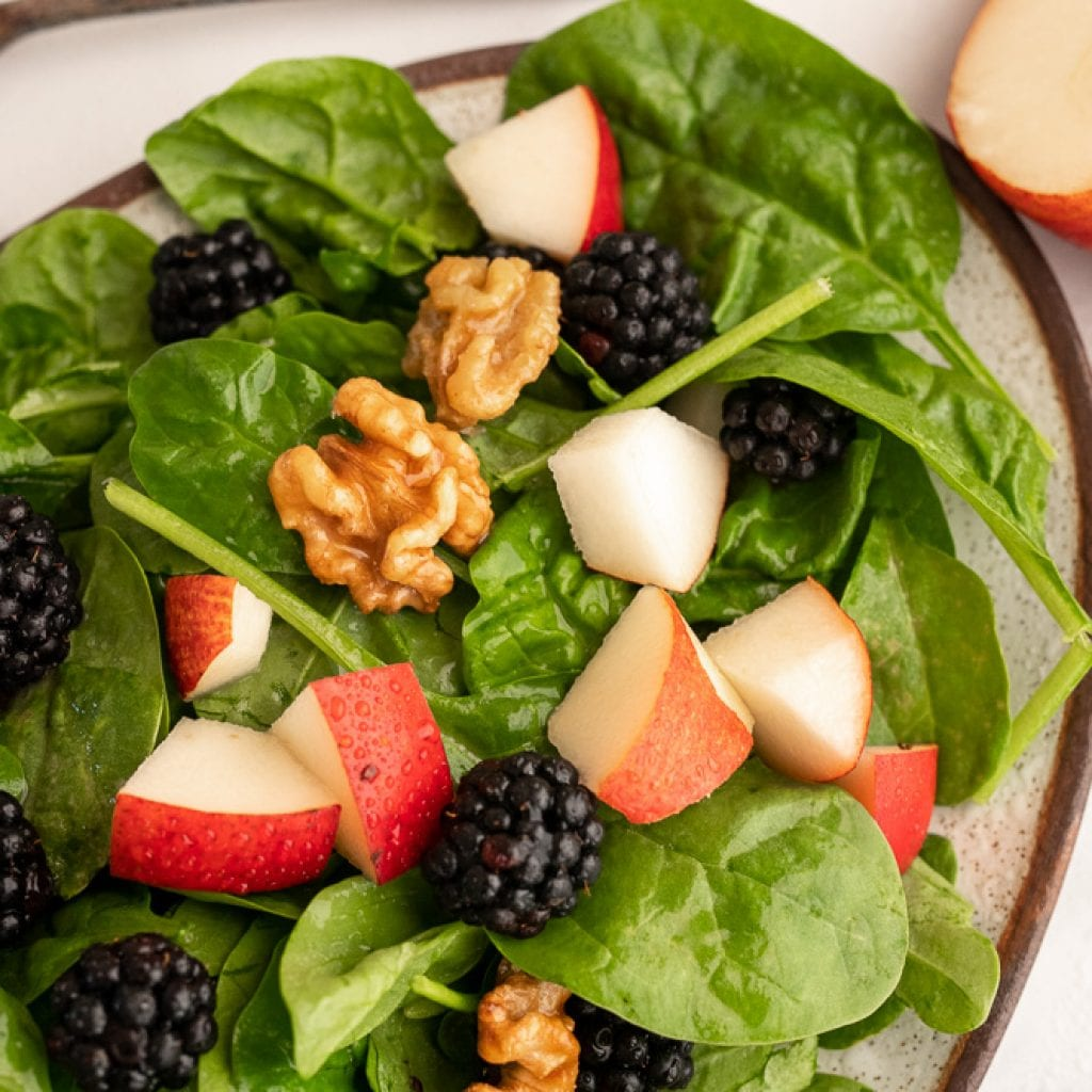 Red Pear and Blackberry Salad with Maple Walnuts