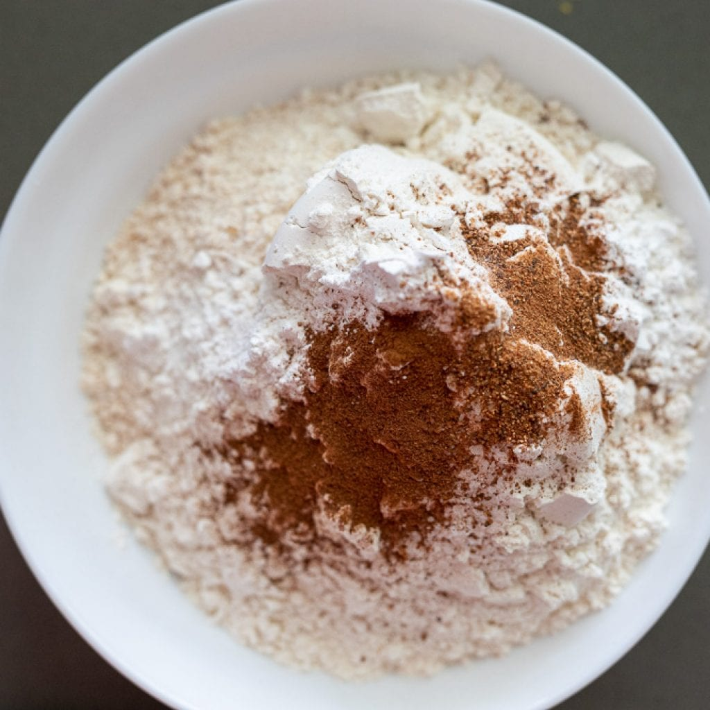 dry ingredients in small white bowl for apple loaf