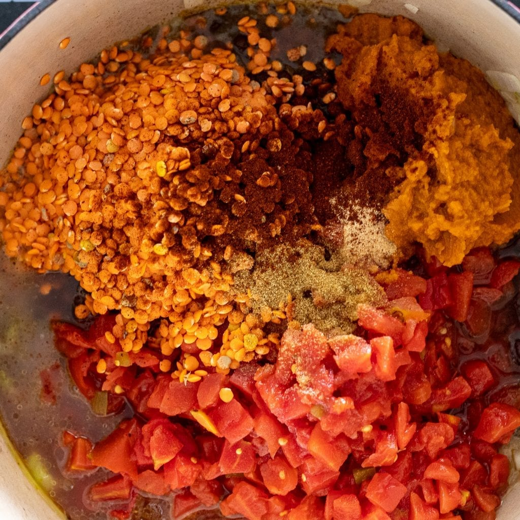 vegetables and spices in dutch oven for veggies soup