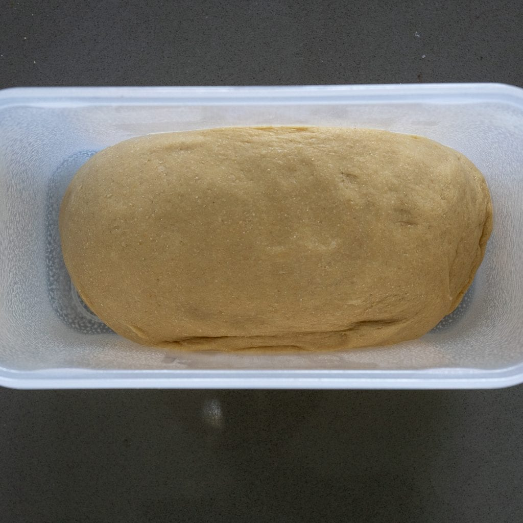 Brioche placed in container for refrigeration overnight