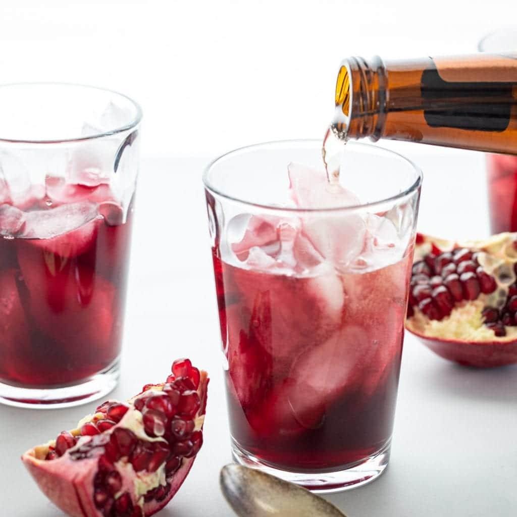 Simple Vanilla Pomegranate Fizz in clear glass cups