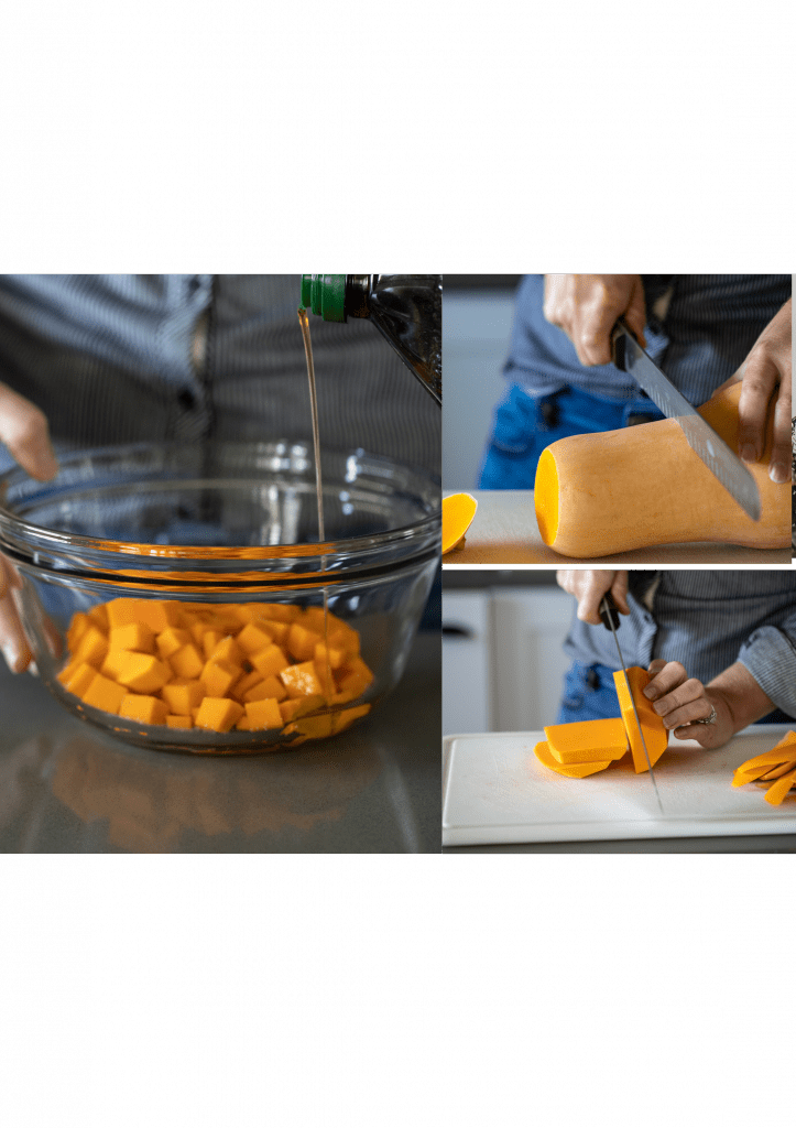 woman prepping butternut squash for roasting