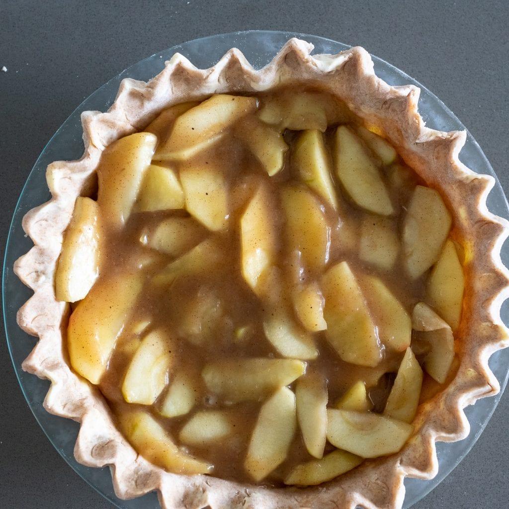 apple pie filling in whole wheat pie crust