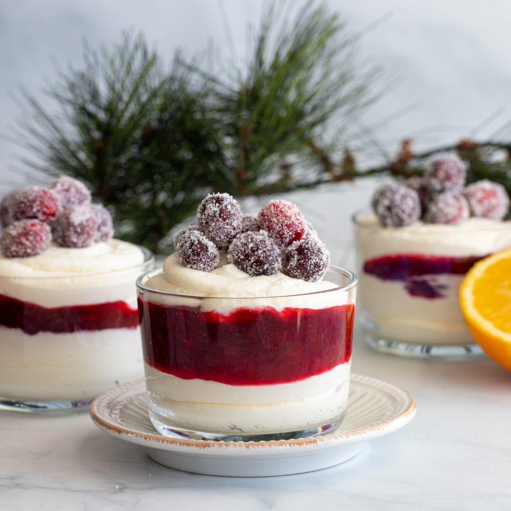 Layered White Chocolate Mousse and Cranberries desserts with greenery in the background and oranges
