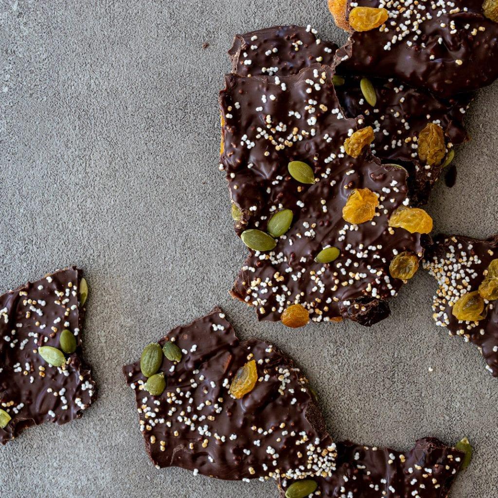 Popped Amaranth Dark Chocolate Bark