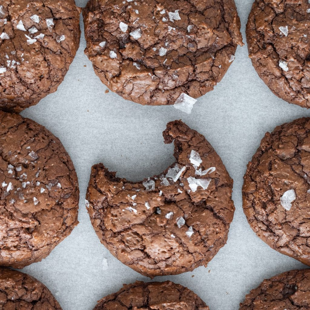 Dark Chocolate Rye Cookies on parchment paper
