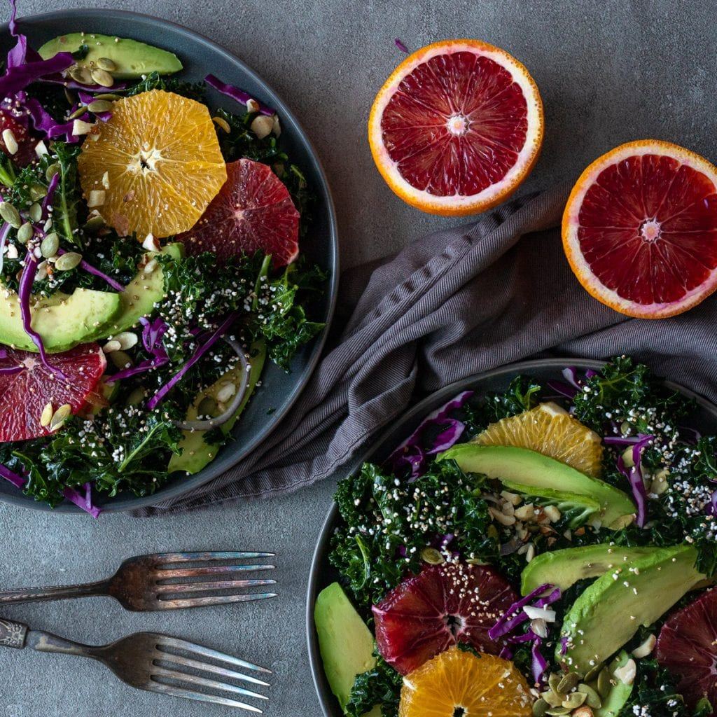 Simple Winter Greens and Blood Oranges with popped amaranth