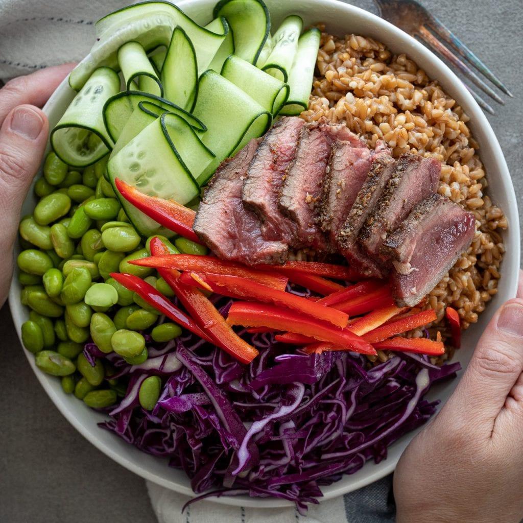Simple Whole Grain Steak Bowl