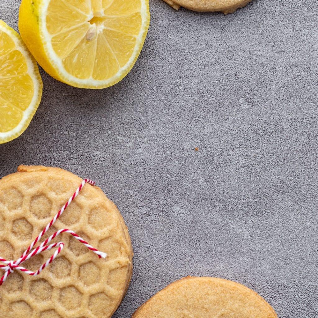 Tender Shortbread Stamped Lemon Cookies