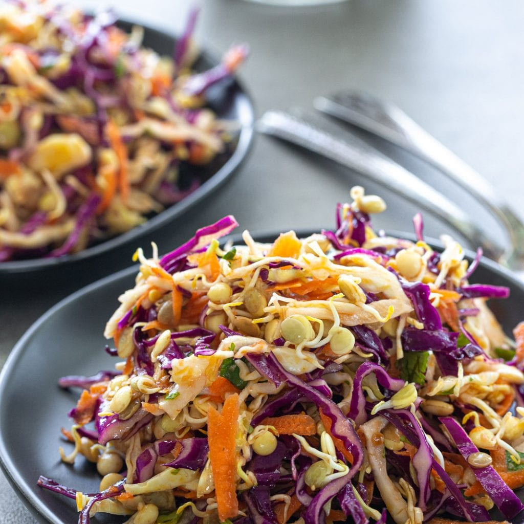 Asian-Style Slaw With Sprouted Lentils