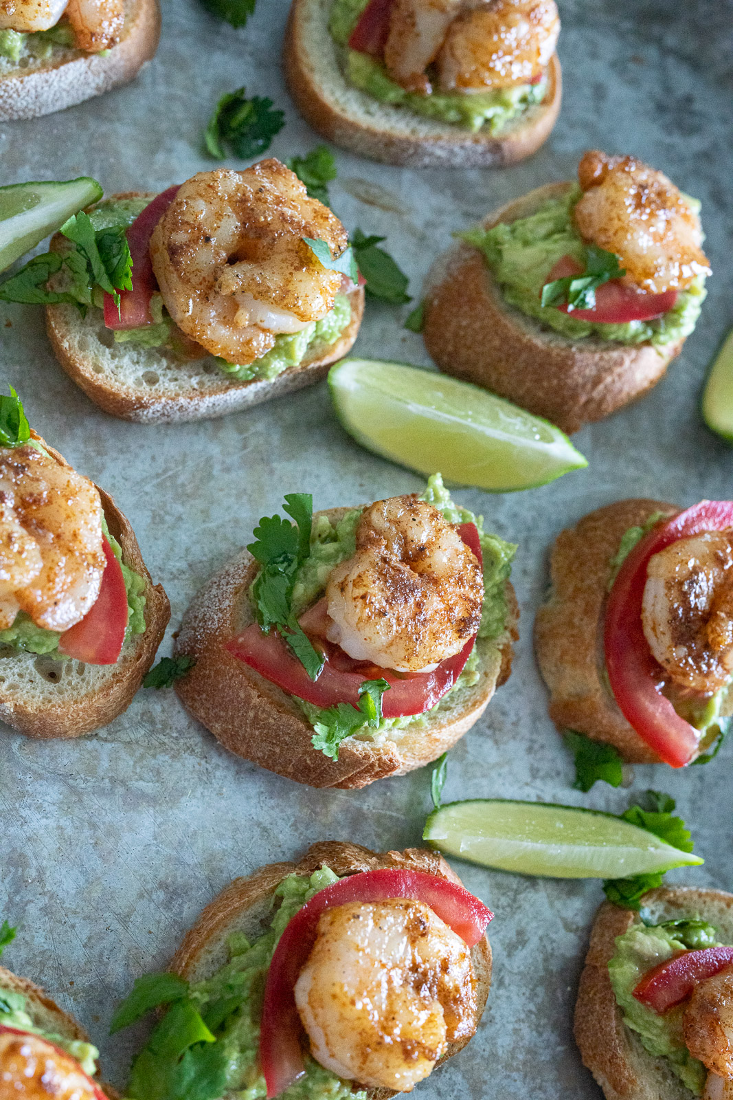 Simple Shrimp and Avocado Crostini