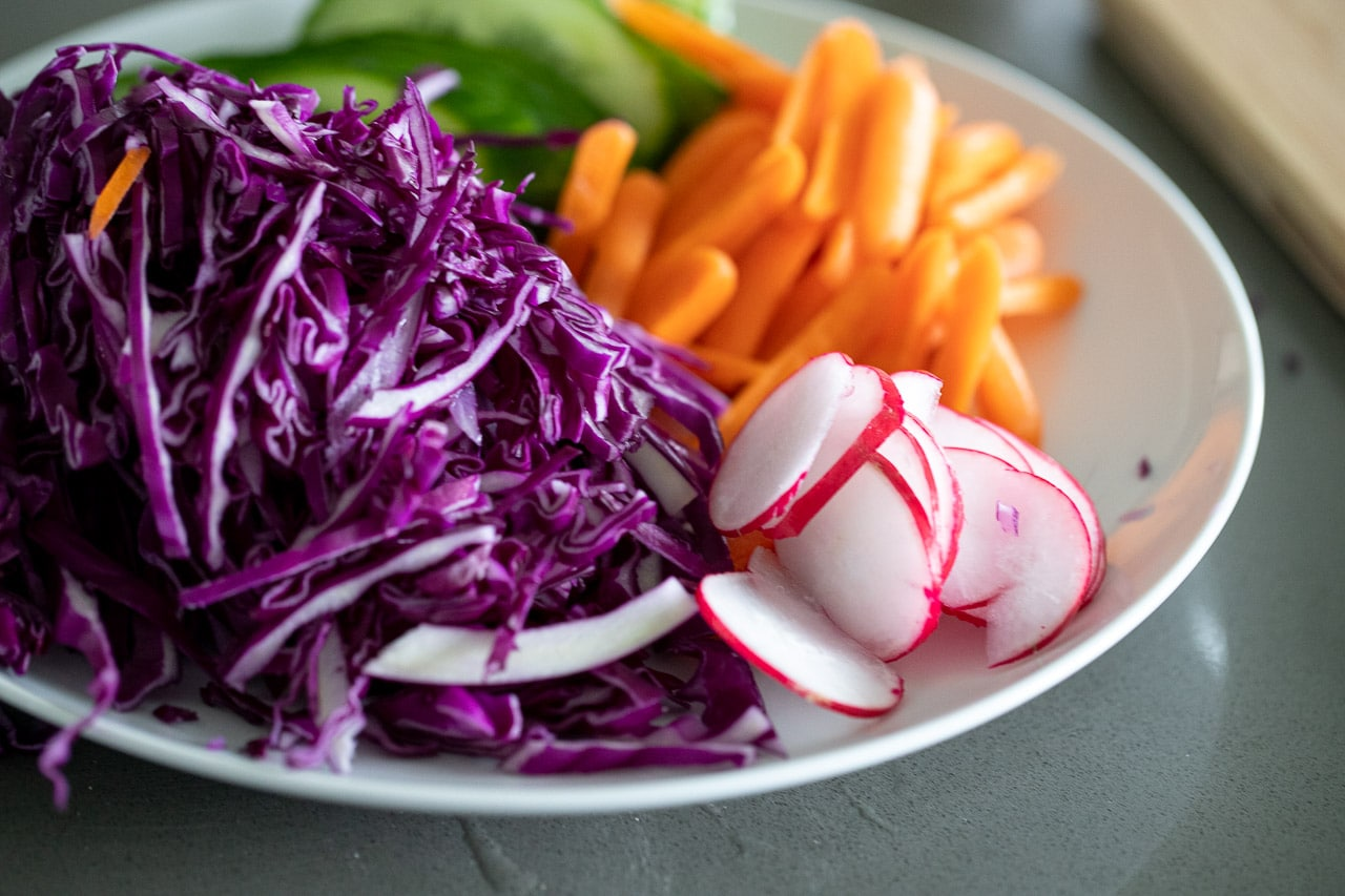 vegetables chopped on a salad bowl