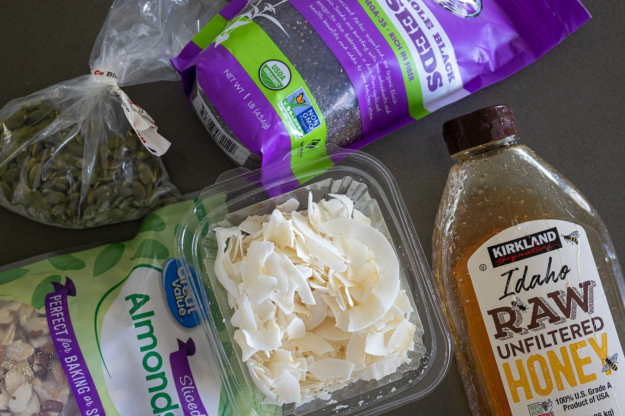 Ingredients for making coconut clusters