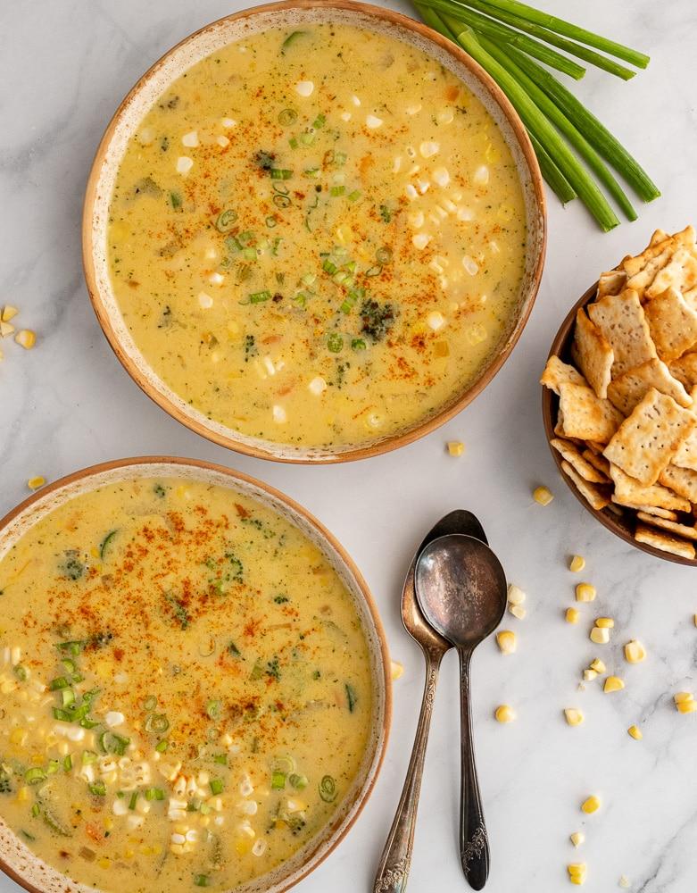 Easy Vegetarian Corn Chowder in bowls