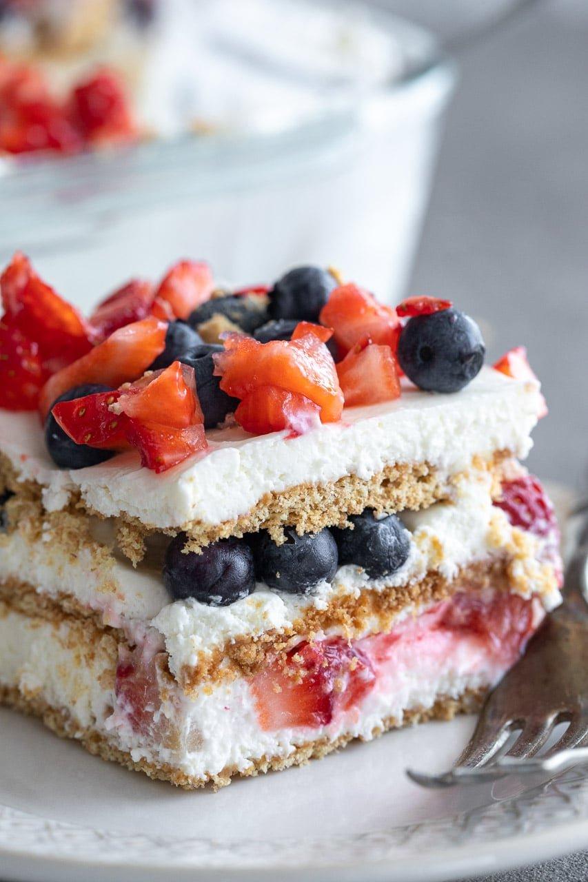 slice of easy berry icebox cake