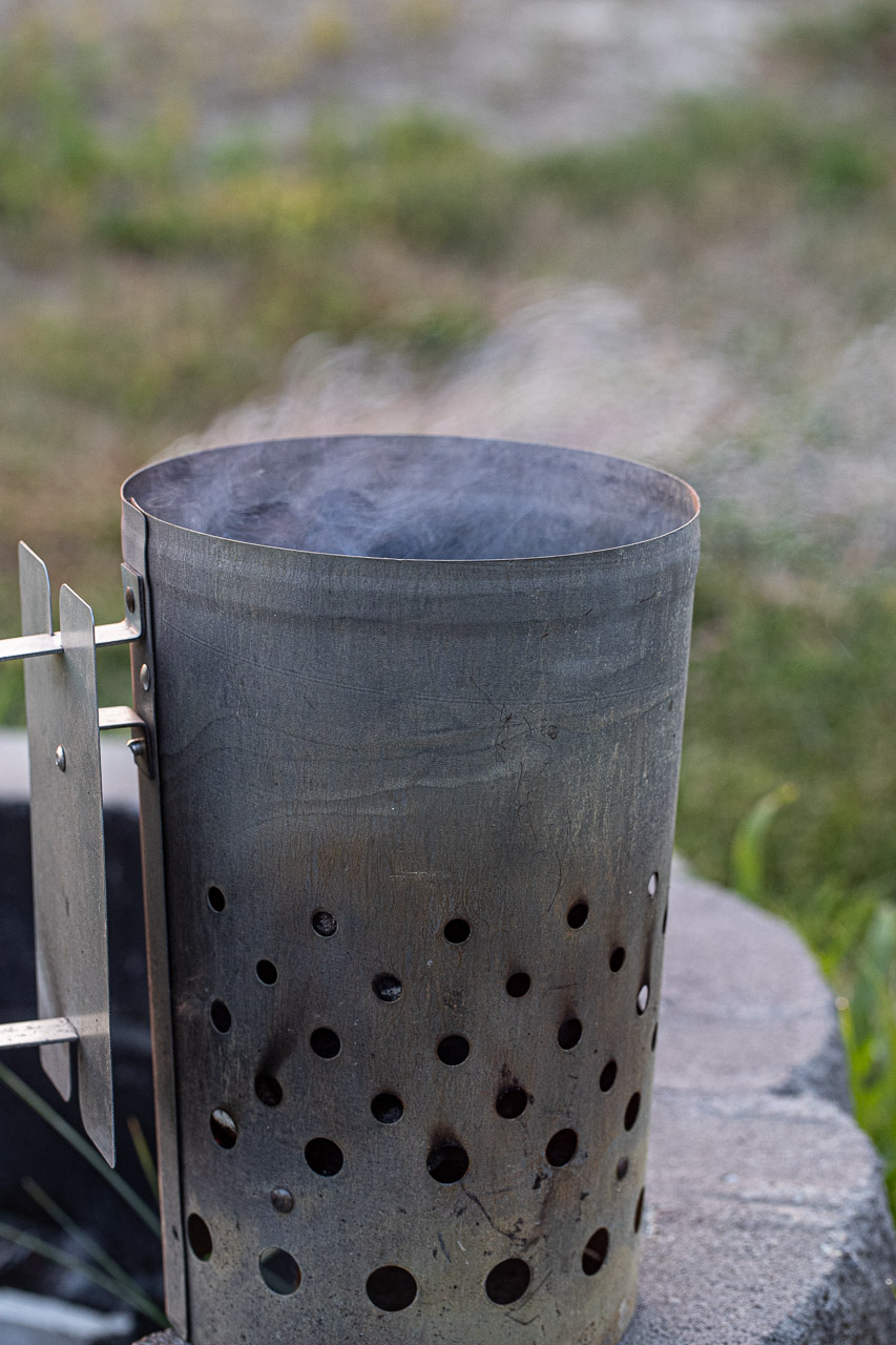 chimney for starting charcoal for dutch oven cooking