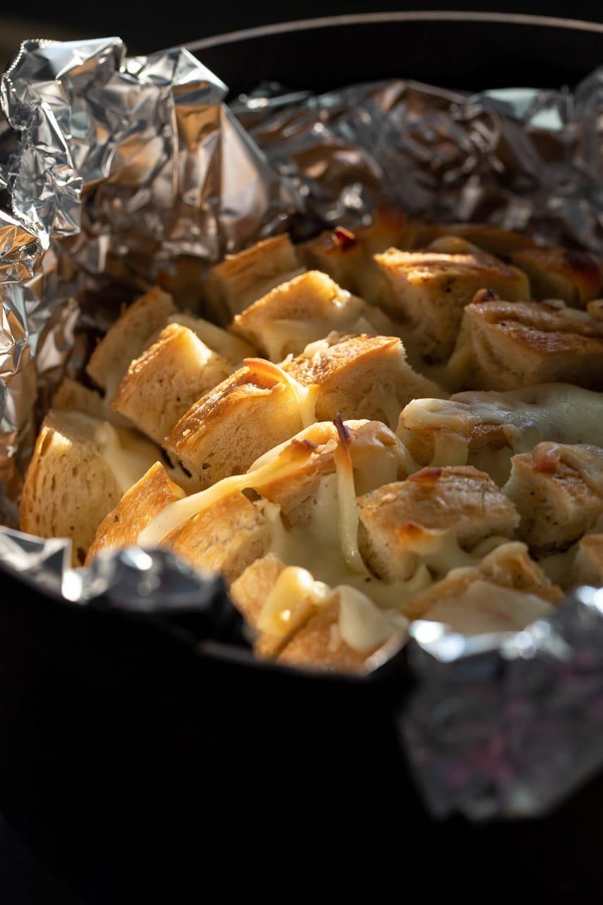 Cheesy Garlic Pull Apart Dutch Oven Bread