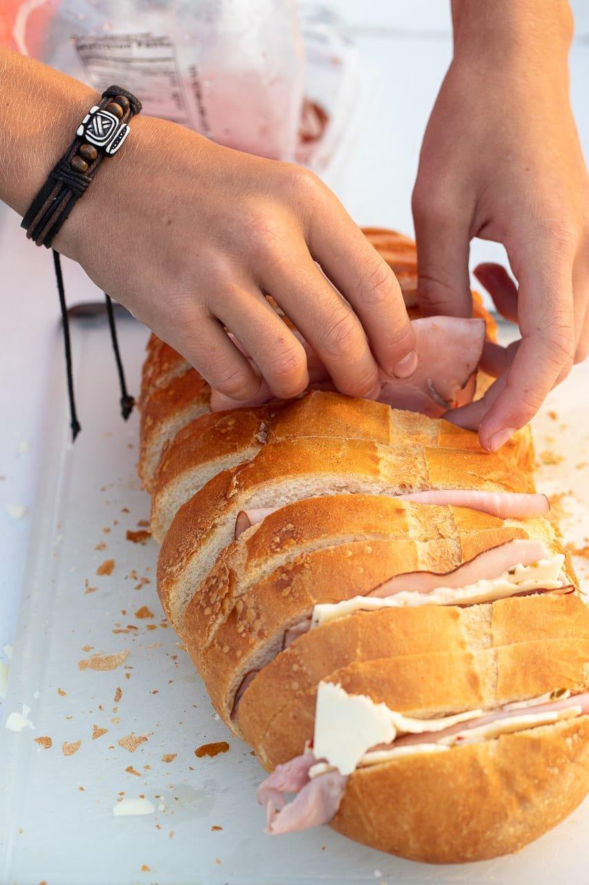 Dutch Oven Hot Ham Sandwiches