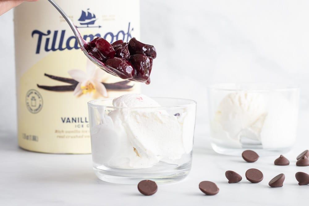 Simple Fresh Roasted Cherries with vanilla ice cream