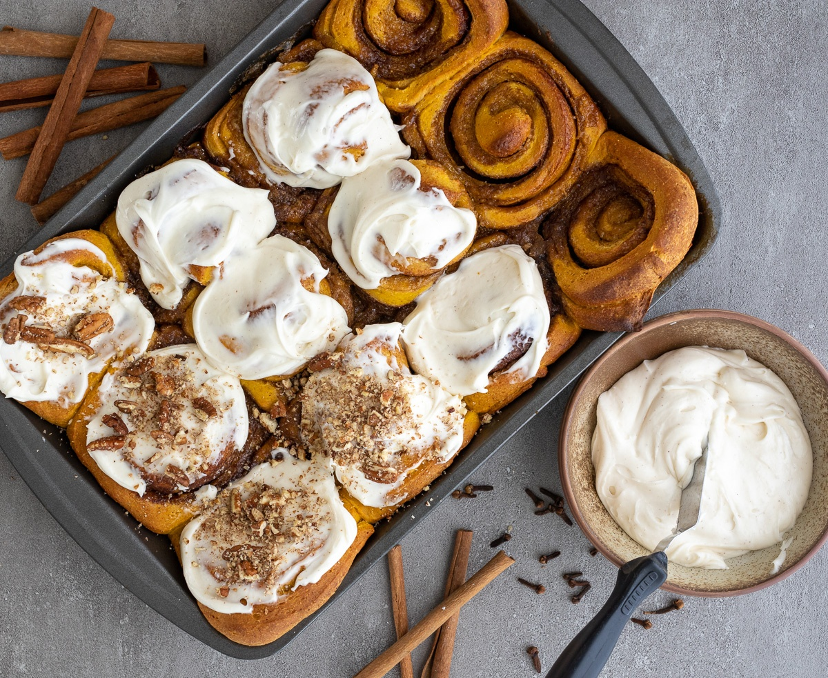 Whole Wheat Pumpkin Cinnamon Rolls