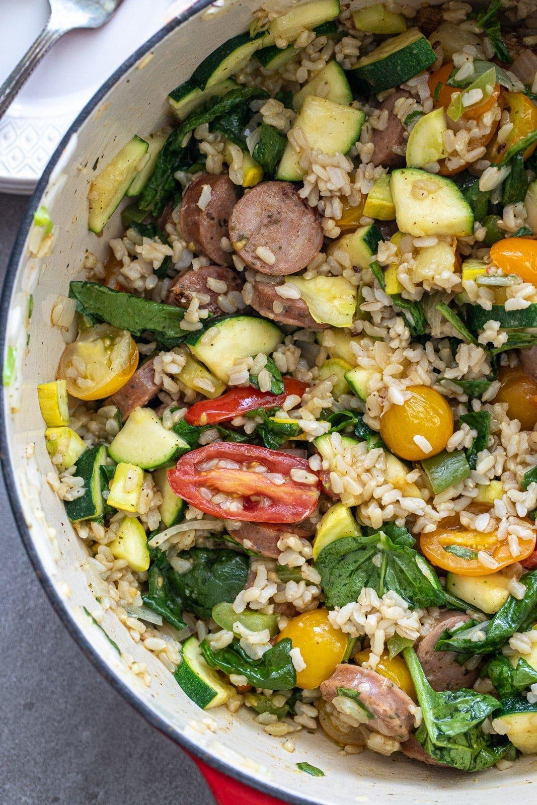 Chicken sausage, brown rice, and veggie skillet