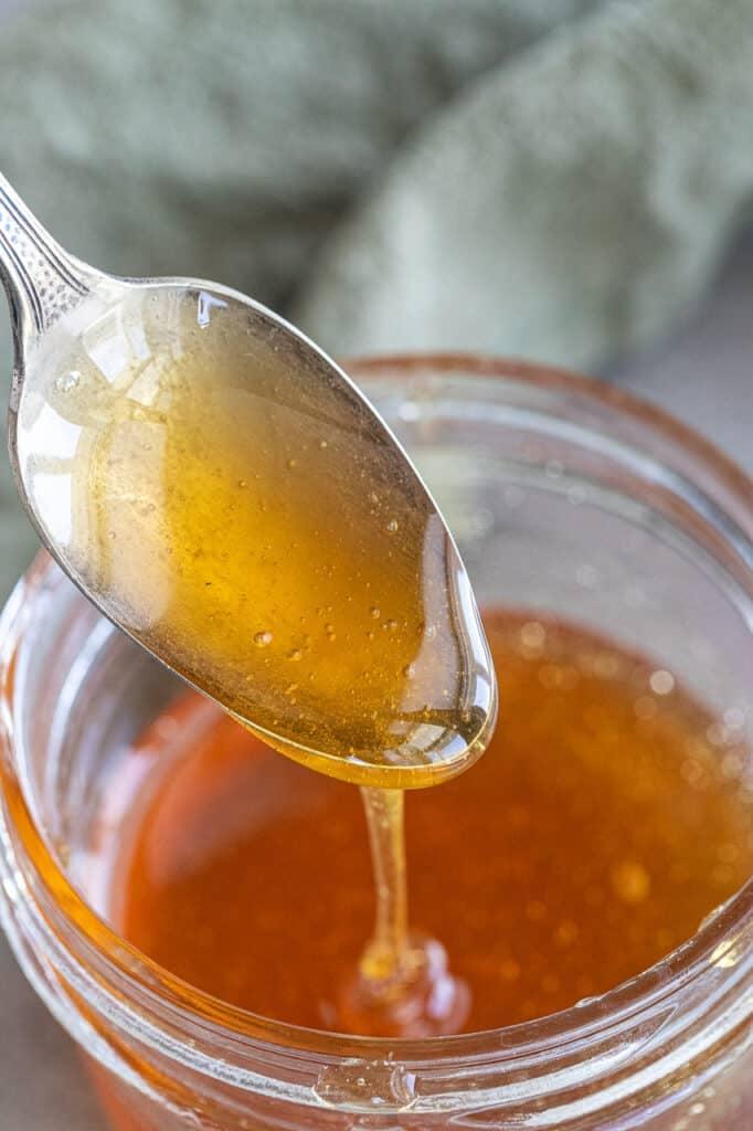 hot honey in small mason jar