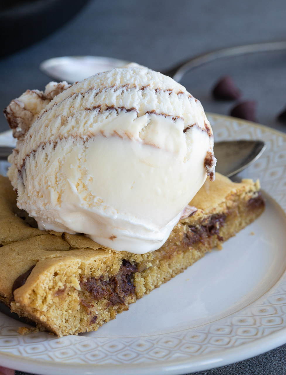 Skillet Cookie With ice cream on top.