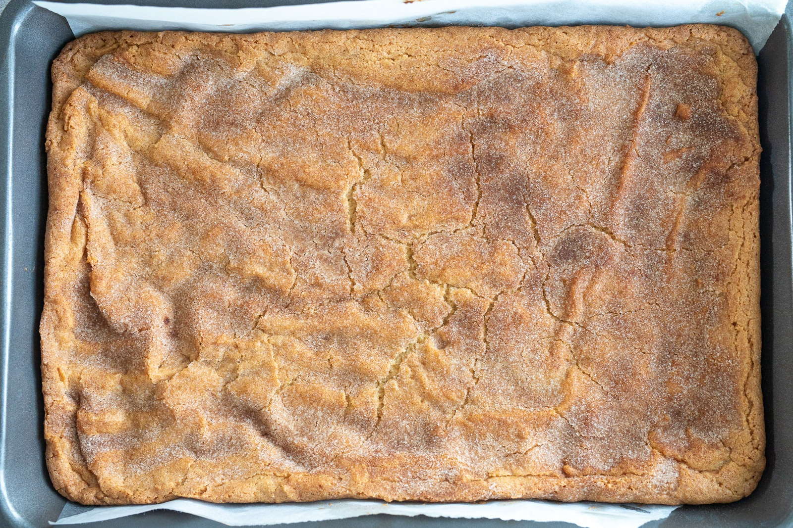 Baked snickerdoodle bar in a 9x13 pan.