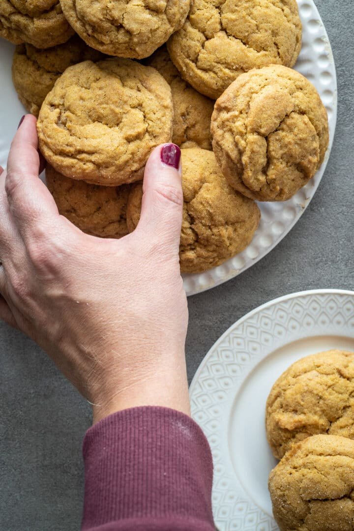 Pumpkin snickerdoodles-whole grain on a white plate.