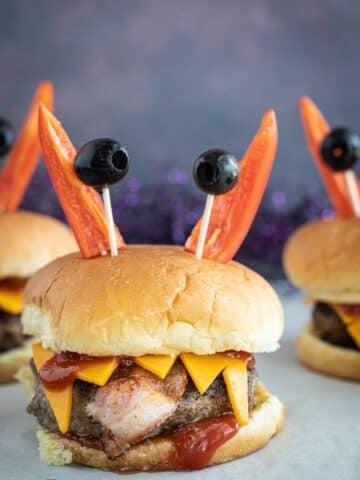Halloween monster burgers.