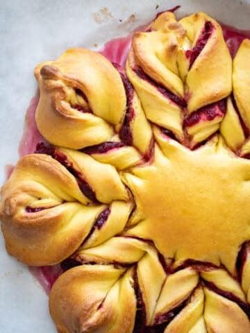 Baked Cranberry Orange Brioche Star Bread.