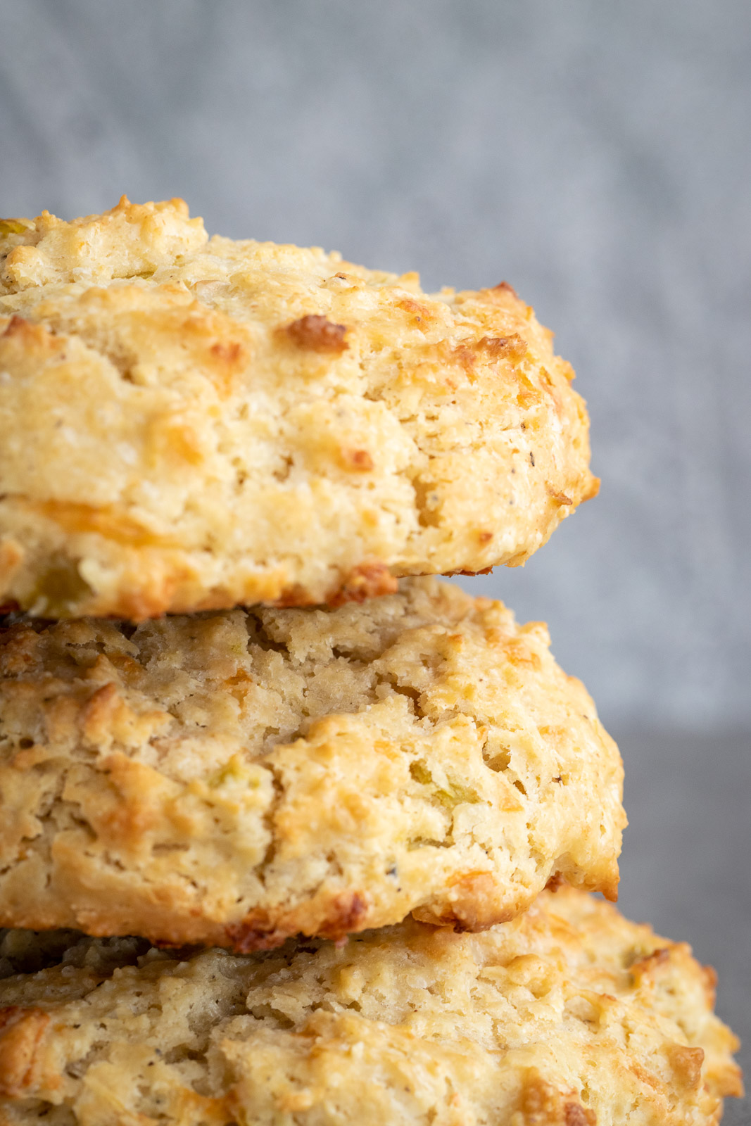 Green Chili and Jack Drop biscuits in a stack.