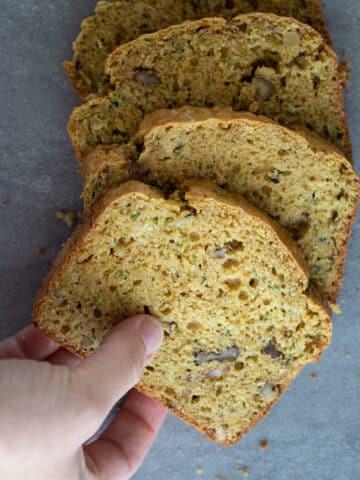 Sliced whole wheat zucchini bread.